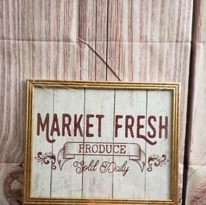 Market Fresh Produce Sold Daily Home Decor Sign